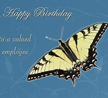 Employee Birthday Card - Tiger Swallowtail Butterfly by MotherNature