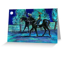 Riding Horses on a Full Moon Night Greeting Card