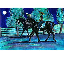Riding Horses on a Full Moon Night Photographic Print