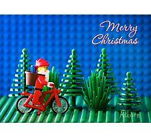 Cycling Santa Photographic Print