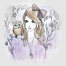 Girl and Owl Illustration by TaylahMcIlwaine