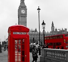 London Red Telephone box and Bus by DavidFrench