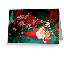 Christmas Season ~ Kitten w/ Paws Up Playing with Santa Claus' Hat ~ Kitty Cat in Xmas Decorations w/ Red Holiday Bows Greeting Card