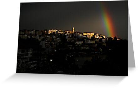 Rainbow over Kastoria City by Tania Koleska