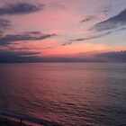 Pink evening sky reflected by the ocean - Cielo rosa reflectado en el mar, Puerto Vallarta, Mexico by PtoVallartaMex