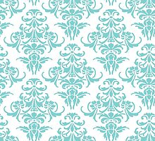 TIFFANY BLUE - WHITE DAMASK by MadNic