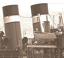 Waverley Paddle Steamer Funnels in Sepia by Steve Purnell