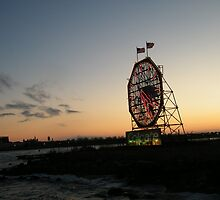 February Jersey City, New Jersey, Classic Colgate Clock at Sunset  by lenspiro