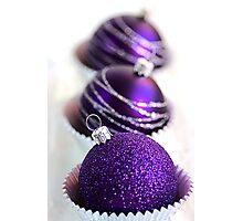 Christmas Purple Bauble Cupcakes Photographic Print