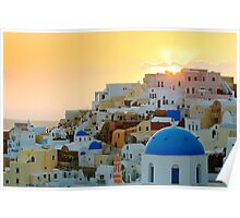 Oia village at sunset, Santorini island, Greece Poster