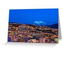 Panorama of La Paz of night, Bolivia Greeting Card
