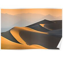 Sand dunes over sunrise sky in Death valley, California Poster