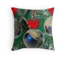World Christmas card Throw Pillow
