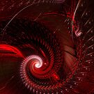 Red Spirals..Fractals Iphone cover by Elaine  Manley