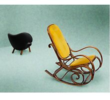 Thonet rocking chair with Pelican chair by beanocartoonist