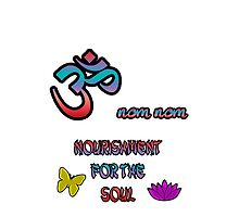 Om Nom Nom Om Aum Symbol Nourishment for the Soul by THarmonArt
