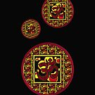 Beautiful Red and Yellow Om Symbol on Patterned Background by THarmonArt