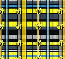 Adorable Bumble Bees on Yellow and Black Plaid by THarmonArt