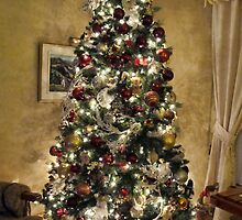 Gold Holiday Display ~ Christmas Tree Decor w/ Shiny Baubles & Xmas Lights in a Warm Atmosphere by Chantal PhotoPix