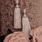 Tassels, roses, lace and hat box. by Sandra Foster