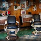 Barber - Frenchtown, NJ - Two old barber chairs  by Mike  Savad