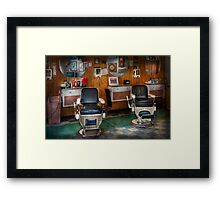 Barber - Frenchtown, NJ - Two old barber chairs  Framed Print