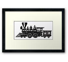 Steam Locomotive black and white pen ink drawing Framed Print