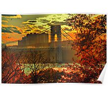 USA. New York. Hudson River. George Washington Bridge. Poster