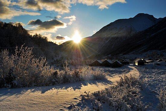 Ein kald dag på Bøyafjellstølen by Knut P.  Boyum