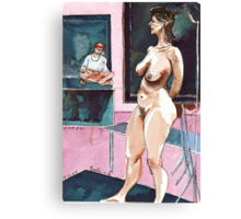 Joelle the Standing Nude among Artists Canvas Print