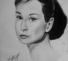 Audrey Hepburn Graphite Portrait by Felicity Deverell