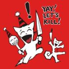 Squirrel and Cat Funtime Let's Kill Tee by Bethalynne Bajema