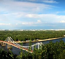 Kiev Ukraine View of the pedestrian bridge and left bank by Yuriy Shevchuk