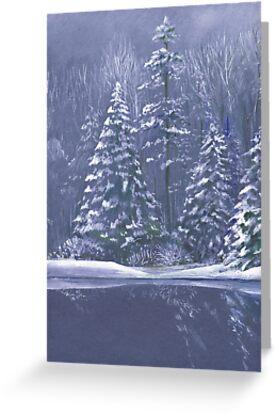 """Winter trees"" Christmas fine art seasonal card by Sarah Trett"