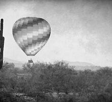 Hot Air Balloon Flight over Southwest Desert BW Fine Art Print   by Bo Insogna