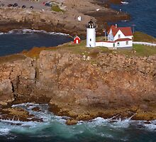 "Cape Neddick ""Nubble"" Lighthouse aerial by Jeremy D'Entremont"