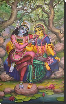 Radha and Krishna on Govardhan by Vrindavan Das
