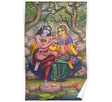Radha and Krishna on Govardhan Poster