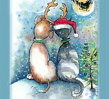 Christmas Dog and Cat Greetings by Robin Pushe'e