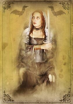 The Strength Card for the Sepia Stains Tarot by Bethalynne Bajema