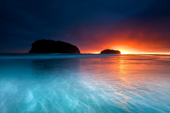 Whangamata Island Dawn Blast by Ken Wright