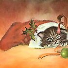 Christmas Kitty by ellenspaintings