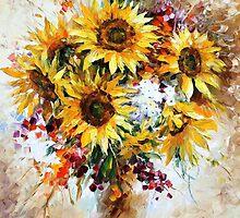 SUNFLOWERS OF HAPPINESS - LEONID AFREMOV by Leonid  Afremov