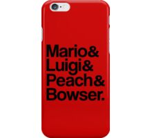 Mario & Luigi & Peach & Bowser - Black iPhone Case/Skin