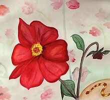 Red Flowers and a Snake by Anne Gitto
