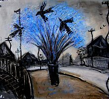 crows in the jacaranda by glennbrady
