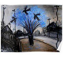 crows in the jacaranda Poster