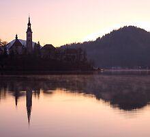 Sunrise over Lake Bled by Ian Middleton