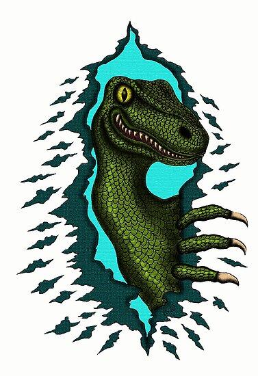 Raptor is Here funny dinosaur cartoon drawing by Vitaliy Gonikman