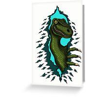 Raptor is Here funny dinosaur cartoon drawing Greeting Card
